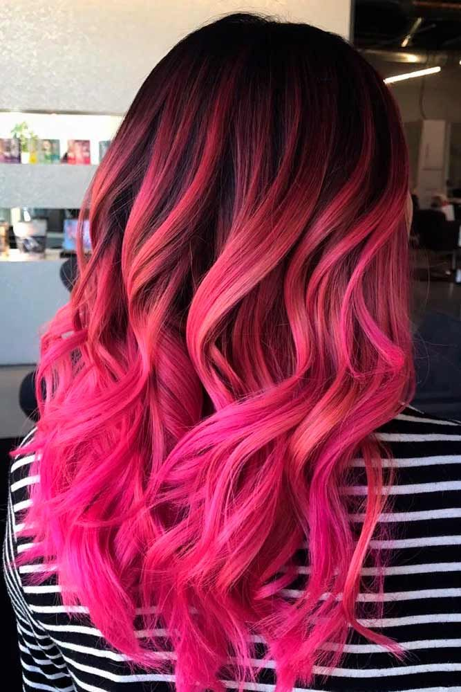 Pink Ombre On Dark Base #colorfulhair #ombrehair #wavyhairstyles ★ Pink hair color is full of surprises. Moreover, it can be different; as different as you want! Dive in to see the latest rose ideas. Besides hot bright highlights for long hair and pastel ombre for short locks, we've prepared a little product review for your successful DIY coloring! #glaminati #lifestyle #pinkhair