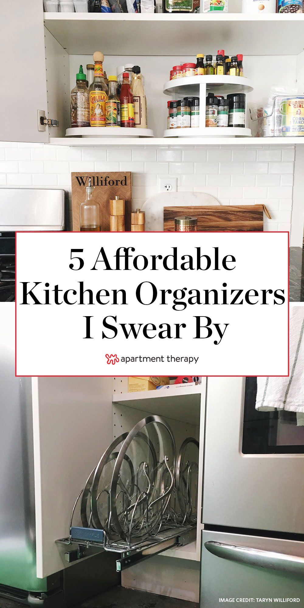 These are the 5 affordable kitchen organizers our Lifestyle Director swears by to maximize her cabinet storage. #storageideas #storagesolutions #kitchenideas #kitchencabinets #kitchenstorage #kitchenorganization #organizingideas #kitchenorganizers