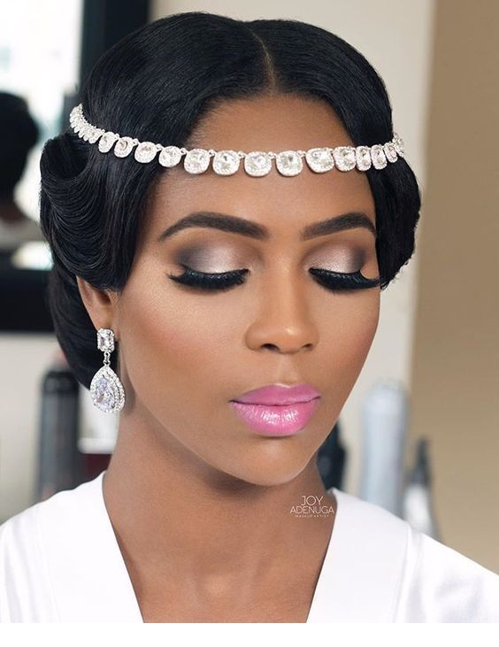 Glam head accessory and earrings with glam makeup