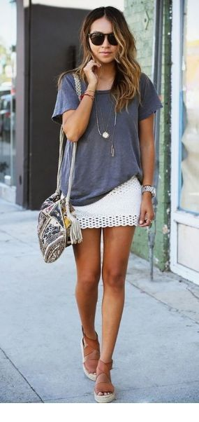 Cool grey t-shirt and white mini skirt