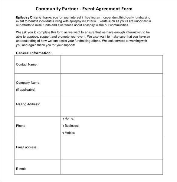 event agreement template