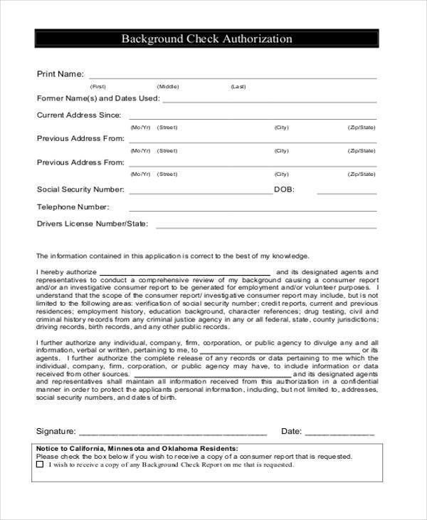 Background Check Authorization Form Template Background Check - background check release form
