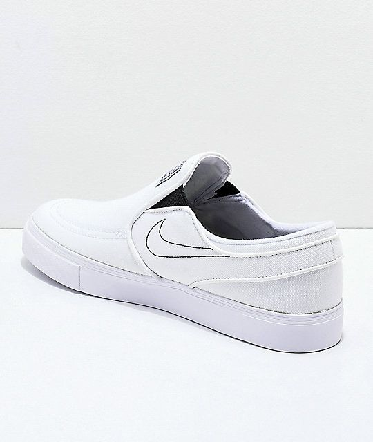 Nike SB Janoski White Slip-On Canvas Skate Shoes