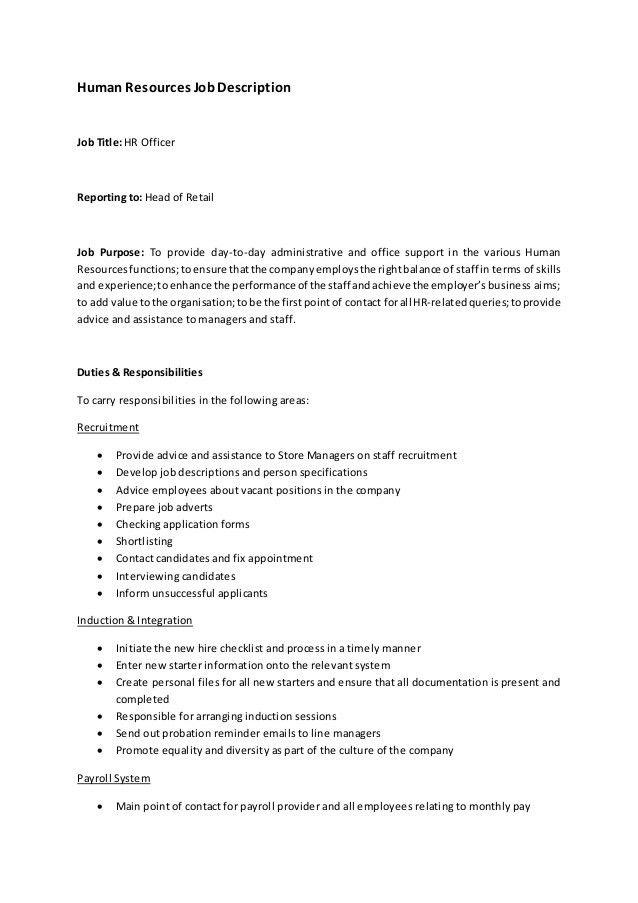 human resources job description resume