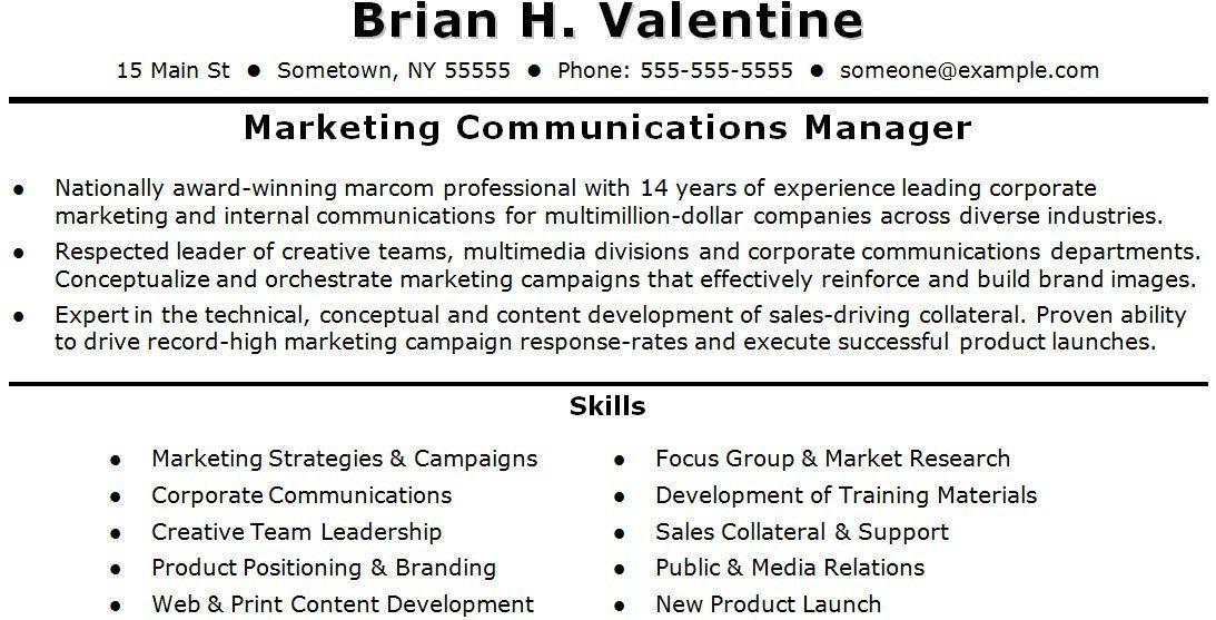 corporate communications resume