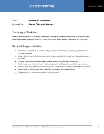 Assistant Restaurant Manager Job Description Restaurant Manager - assistant manager job description