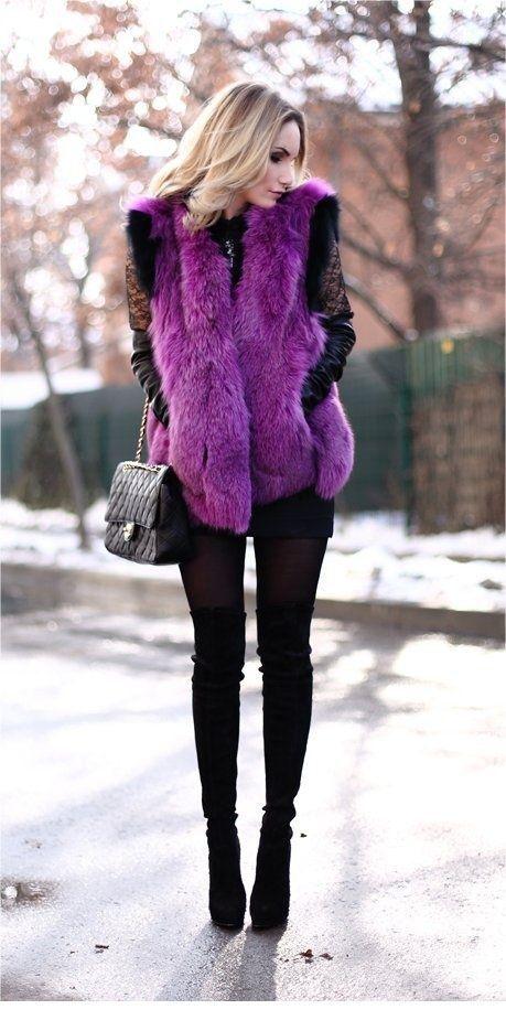 I looove this purple fur vest
