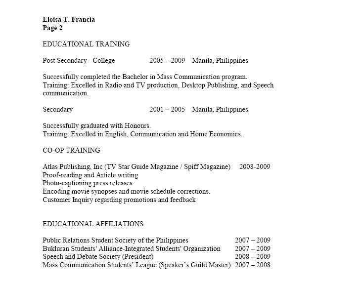 Example Of Canadian Resume - Examples of Resumes
