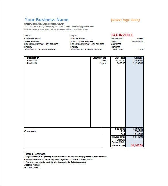Mock Invoice Template Free Invoice Template For Excel, Free - generic invoice
