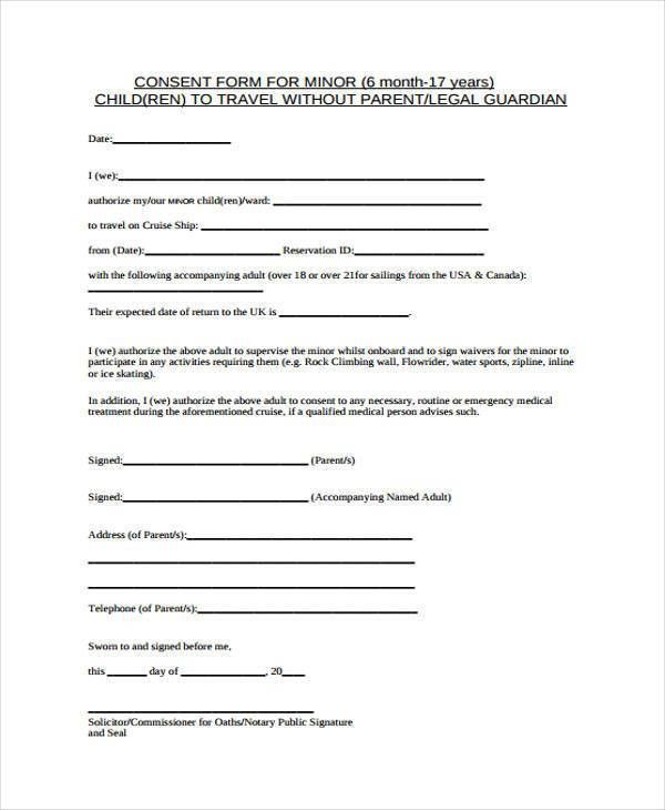 Free Child Medical Consent Form  EnvResumeCloud