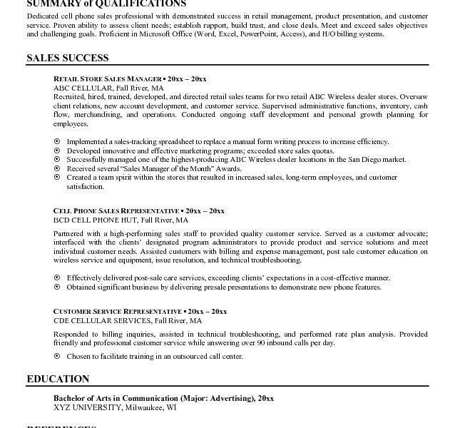 Sales Resume Summary Examples - Examples of Resumes