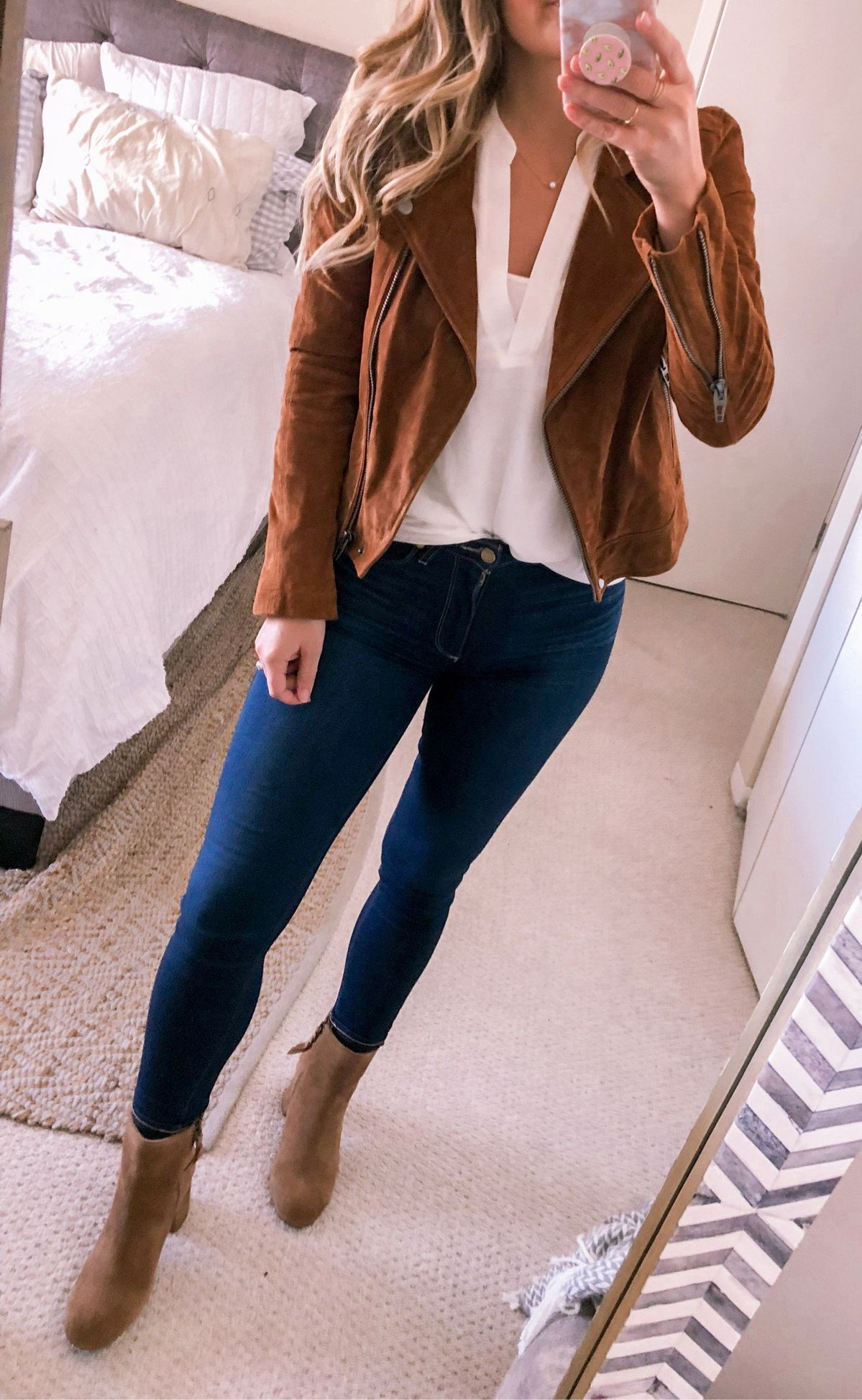 brown zip-up jacket