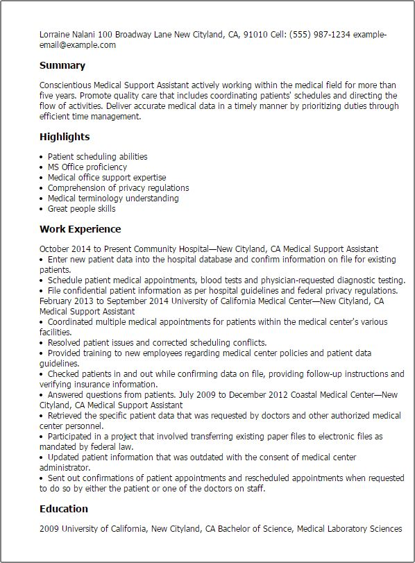 Medical Assistant Resume Summary 16 Free Medical Assistant Resume - medical support assistant resume