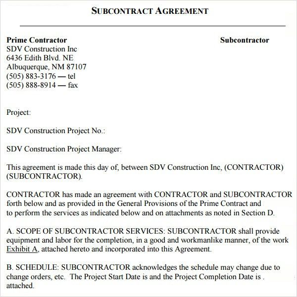 Free Sample Construction Contract Construction Contract 9 - subcontractor agreement template