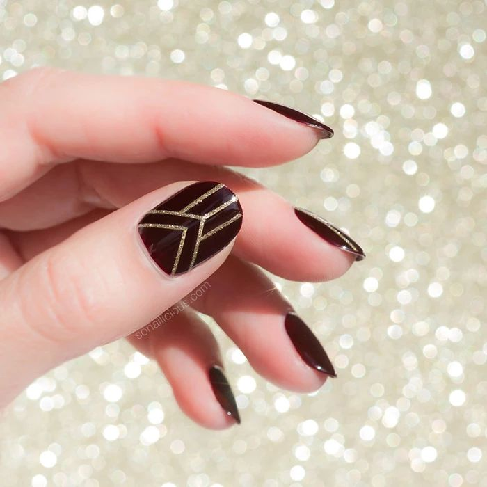 Dark red and gold Christmas nails with Glitter Stripes Nail Stickers from SoNailicious Boutique