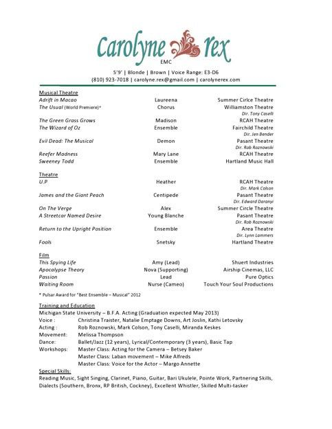 Audition Resume Template Acting Resume Template Daily Actor - musical theatre resume template