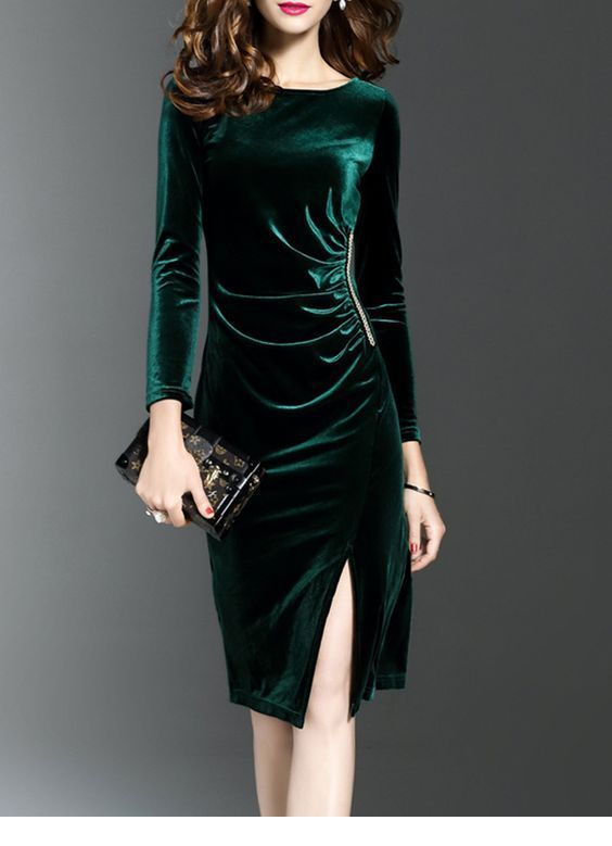 Cool green velvet dress