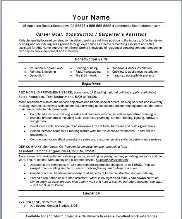 Carpentry Resume Samples Resume, Carpenter Job Description For - carpenter resume example