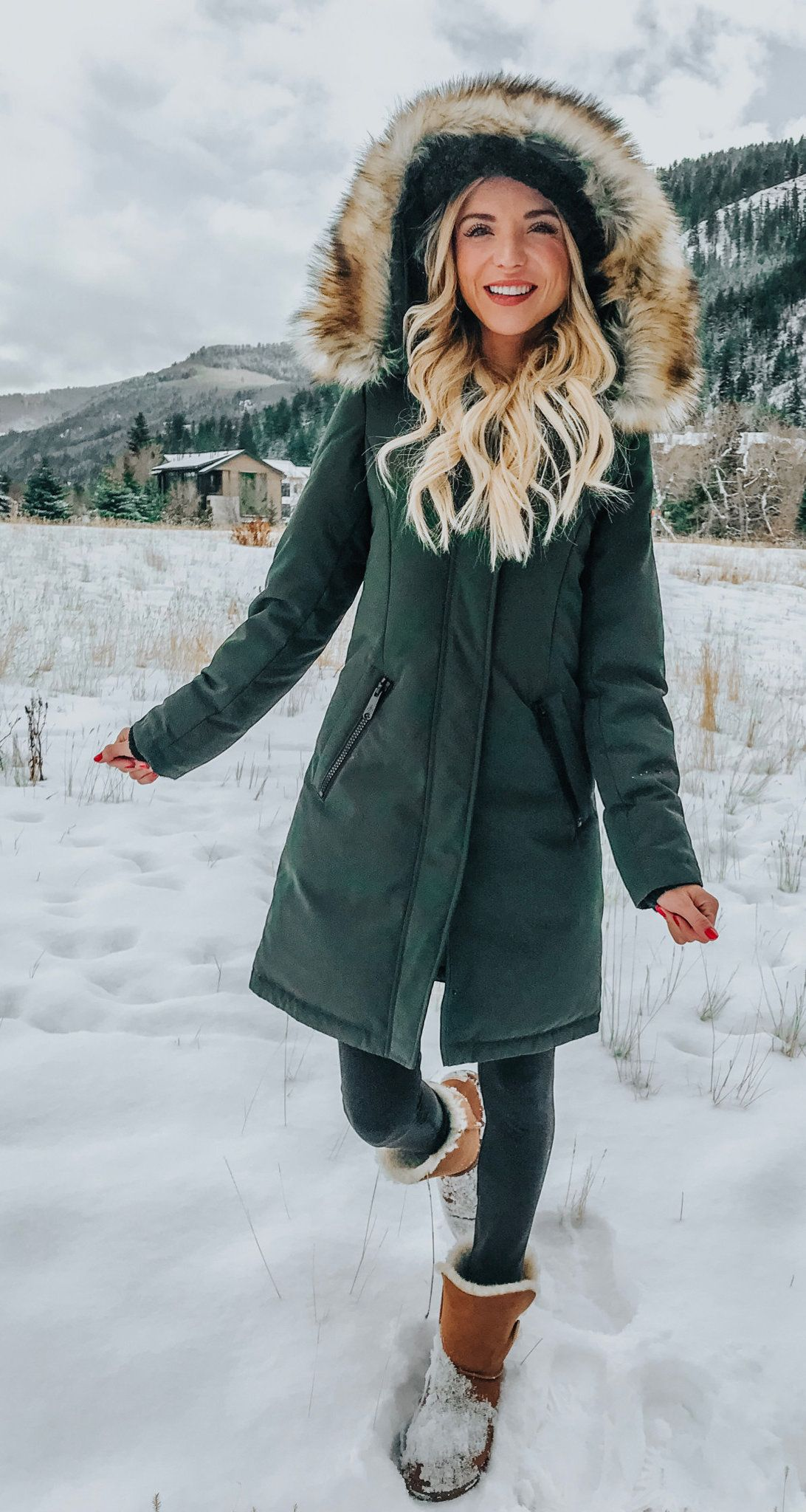gray and brown parka coat