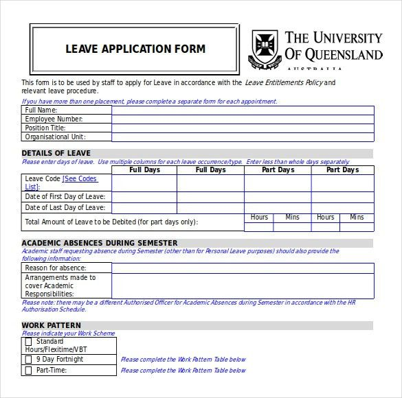 Leave Form Templates Sample Leave Authorization Form 5 Free - medical leave form
