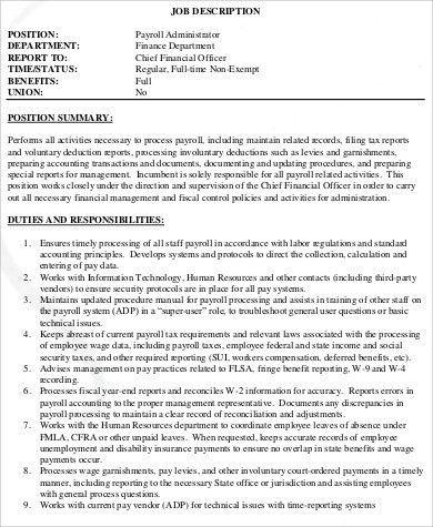 payroll accounting job description accounting finance job payroll analyst job description