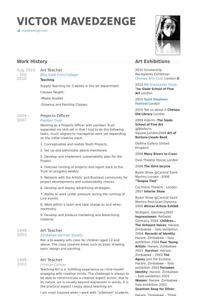 Art Teacher Resume Example - Examples of Resumes