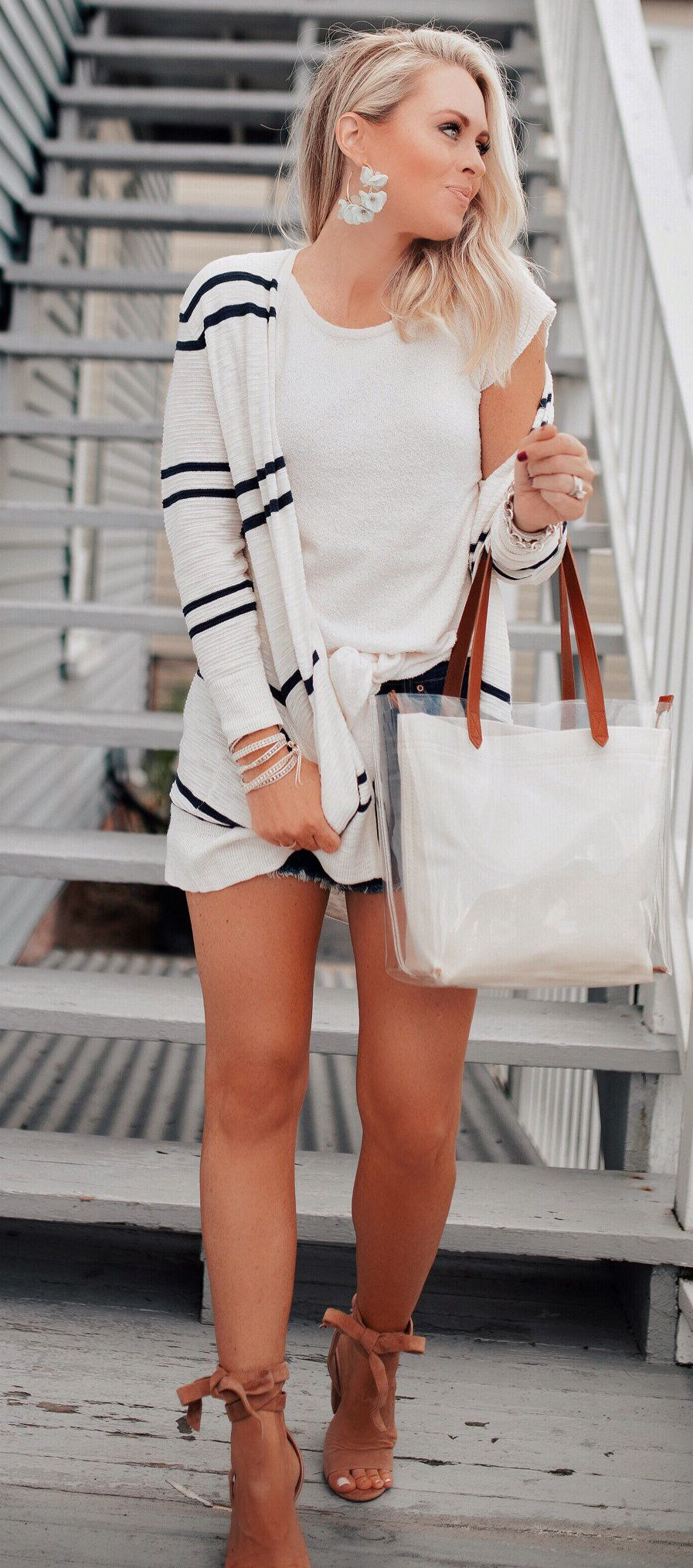white and black long sleeve dress #summer #outfits