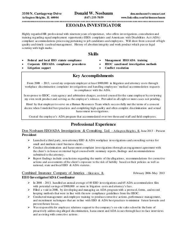 Eeo Investigator Resume Eeo Investigator Revised 9 8 2015, Resume - eeoc complaint form
