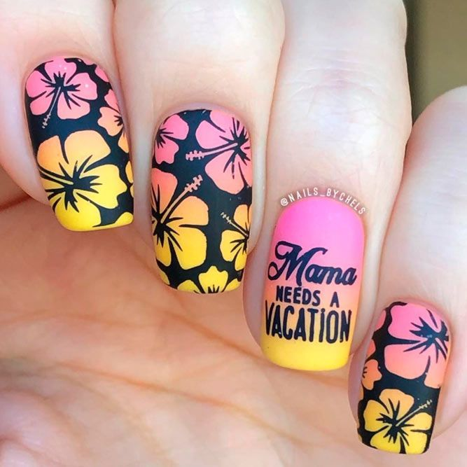 Summer Nail Colors 2018: Perfect Combination #mattenails #floralnails ★ Which summer nail colors do you prefer, bright or more neutral? Explore trendy nail designs for the summertime 2018.  #glaminati #lifestyle #summernailcolors