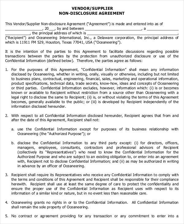 Vendor Agreement Template Vendor Agreement Template 12 Free Word - vendor confidentiality agreement