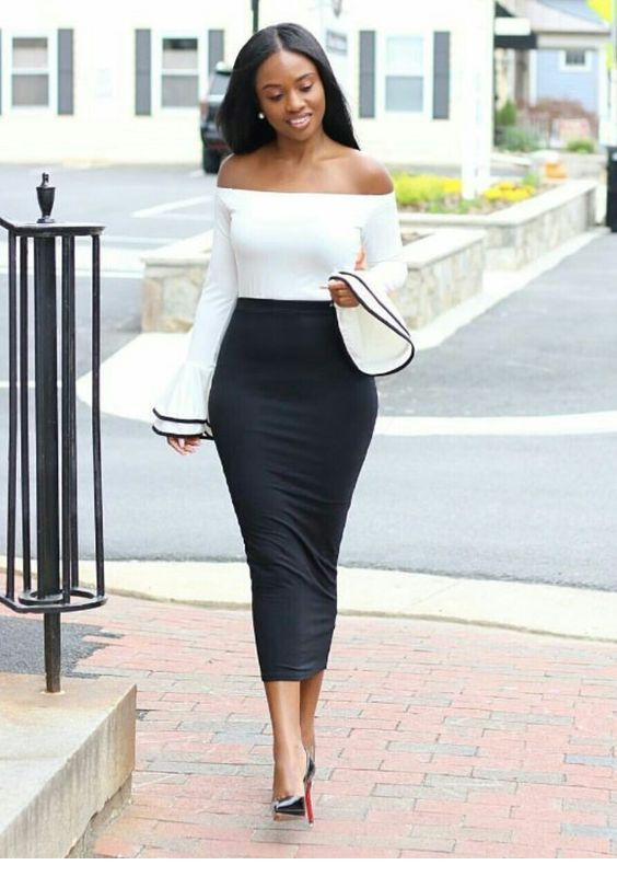 Very nice white blouse and long pencil skirt