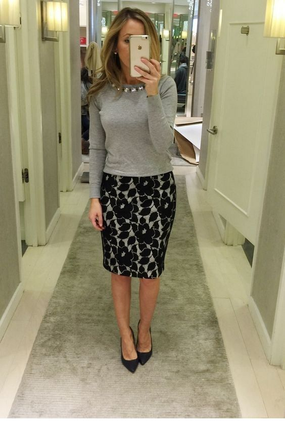 Grey blouse and flotal skirt