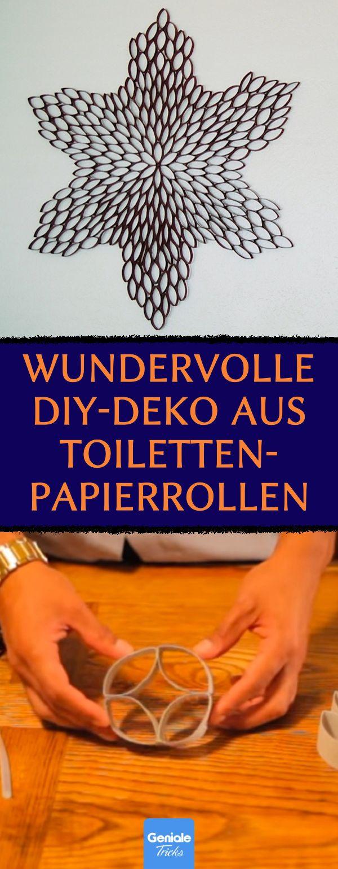 Schöne Wanddeko aus Klopapierrollen. #upcycling #diy #klopapier #toilettenpapier #klorolle #recycling #reuse #deko #wohnung #wand
