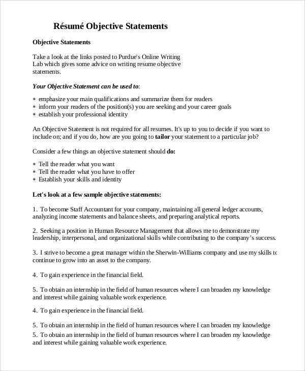 Sample Resume Objective Example How To Write A