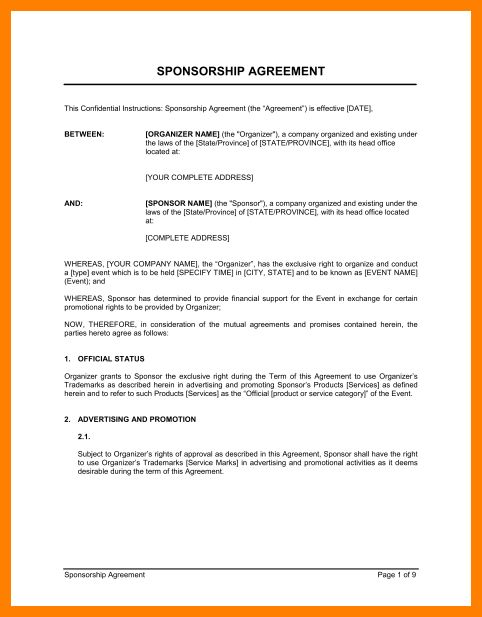 Athlete Sponsorship Contract Template 15 Sponsorship Agreement - sponsorship contract template