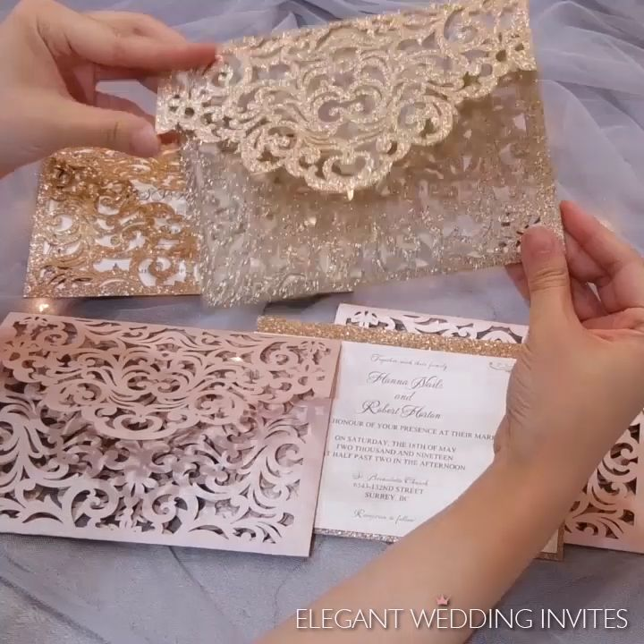 Custom blush shimmer and rose gold laser cut sleeve with classic wedding invitations and glitter backer EWWS240 #EWI