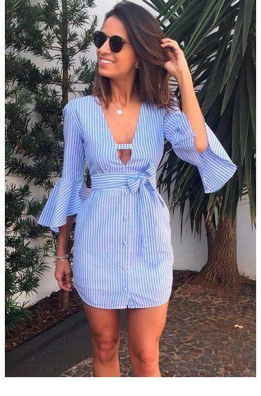 Cute blue shirt dress for summer
