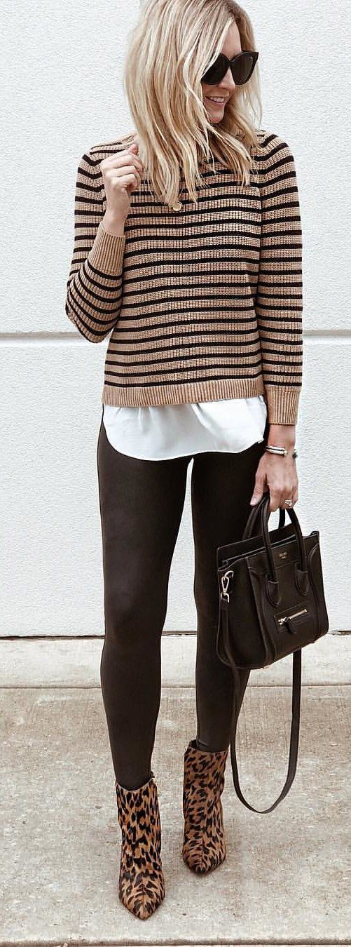 brown and black striped shirt