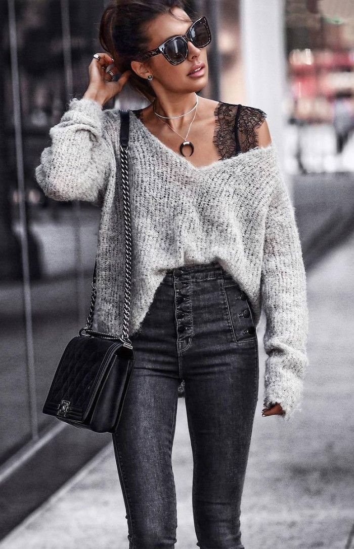 simple outfit idea for this fall : one shoulder sweater lace top bag skinnies