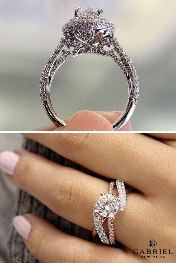 gabriel and co engagement rings camellia ER13444 white gold oval double halo zaira ER12337 white rose gold round free form
