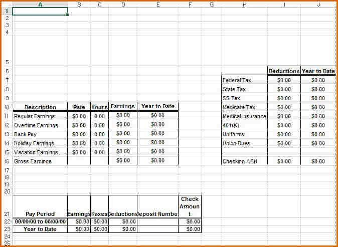 microsoft office pay stub templates