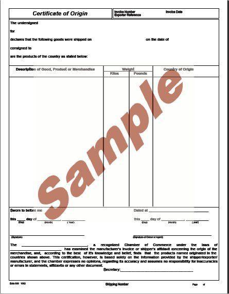 Sample Certificate Of Origin 5 Certificate Of Origin Templates - certificate of origin template