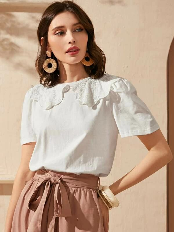 SHEIN Peter Pan Collar Solid Top