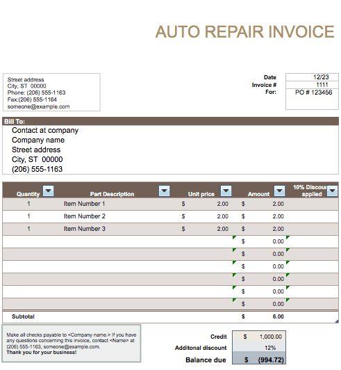 Auto Invoices Auto Repair Invoice Template For Excel, Auto Repair - auto repair invoice templates