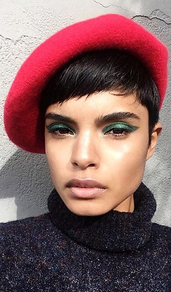 Emerald green winged cat eye on @pinheiroluanna using Pat McGrath Labs Mothership II: Sublime eyeshadow palette | Shop the look on PATMcGRATH.COM | Bold brows, green makeup ideas