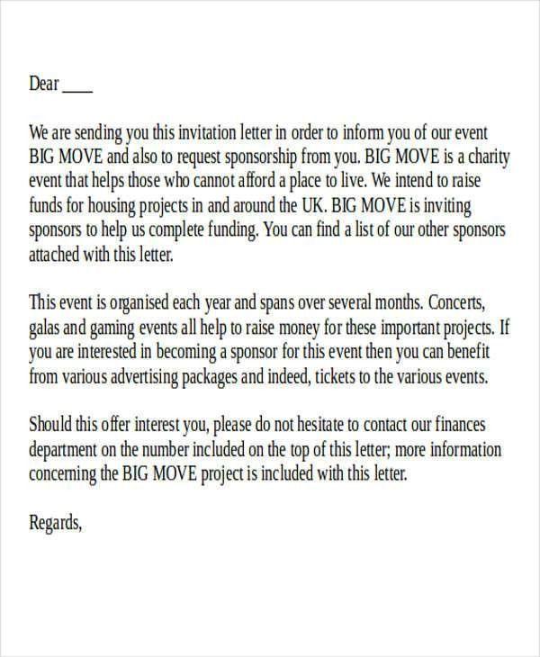 Proposal Letter For Sponsorship Sample For Event 40 Sponsorship   Event  Proposal Letters