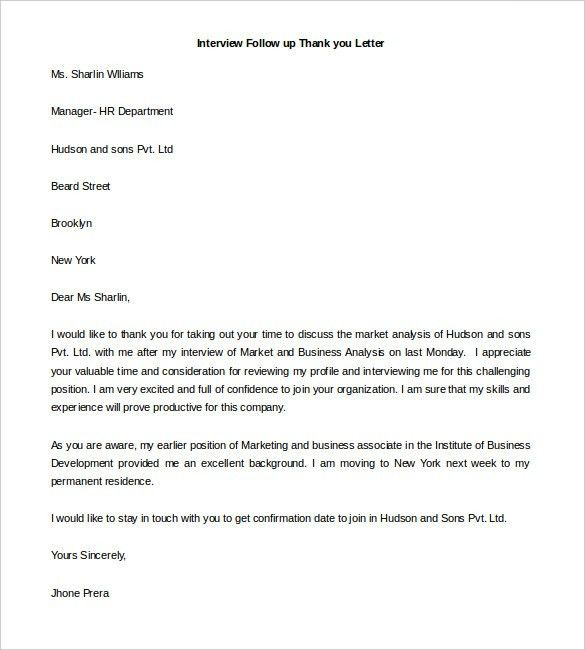 Follow Up Resume Email Sample Sample Follow Up Email 9 Follow Up - thank you letter after interviews
