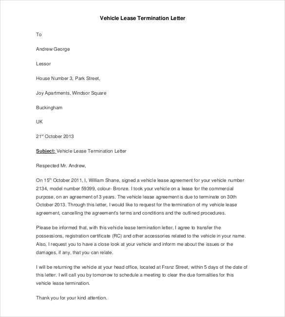 early termination of lease letter