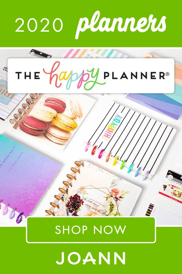It's easy to organize and keep your plans on track with The Happy Planner products at JOANN! There's great options like the 2020 Dated Planner-Be Well, the Girl Classic Dry Erase Board-Happy Hostess, and the 2020 Desk Calendar-Wild Heart.