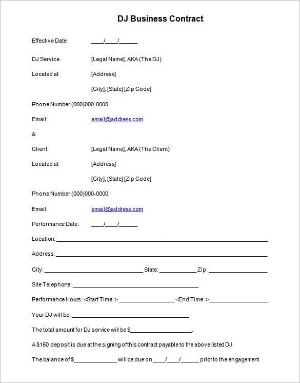 Blank Contract Forms Agreement Templates Free Word Templates - free business contract templates